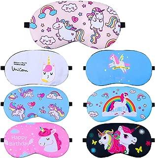 Elcoho 7 Pieces Unicorn Sleeping Mask Soft Sleep Blindfold Eye Mask Cover for Kids or Adults