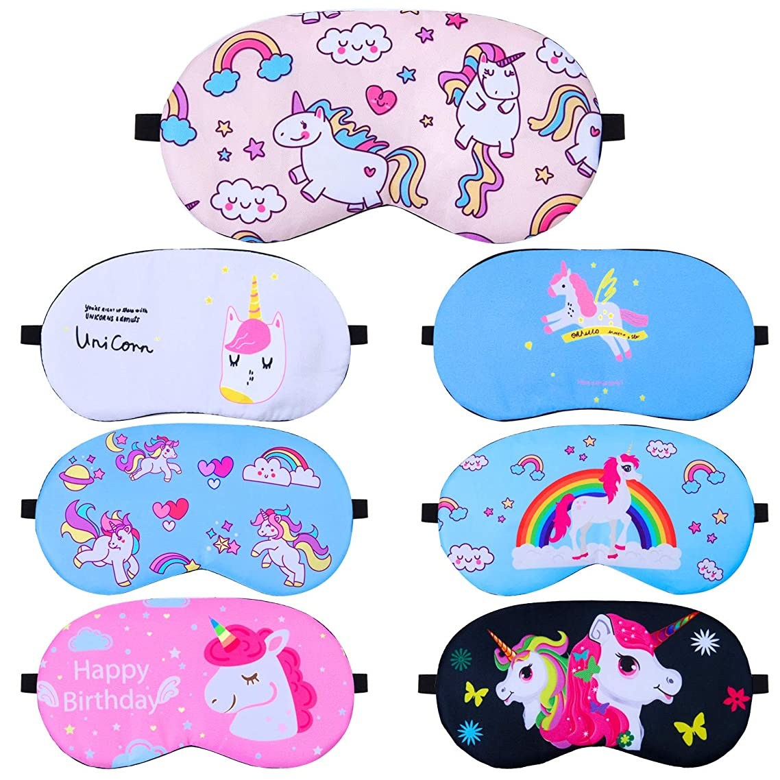 Elcoho 7 Pieces Unicorn Sleeping Mask Soft Sleep Blindfold Eye Mask Cover for Kids or Adults