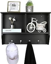 NOZE Hanging Entryway Shelf, Coat Rack Wall Mounted Floating Shelf with 4 Hooks and Storage Cabinets, Black