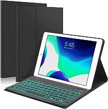 """کیبورد جدید iPad 10.2 7th Generation 2019 ، صفحه کلید Boriyuan 7 Colors با نور پس زمینه جداشونده باریک چرم Folio Smart Cover برای iPad 10.2 اینچ / آی پد ایر 3 10.5 """"(3rd Gen) / iPad Pro 10.5 اینچ - سیاه"""