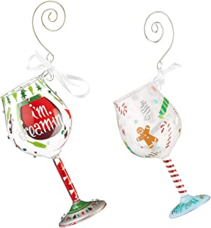 Lolita Christmas Miniature Wine Glass Hanging Ornament, 4.13 Inch - Holiday Treat and Dreaming of Wine