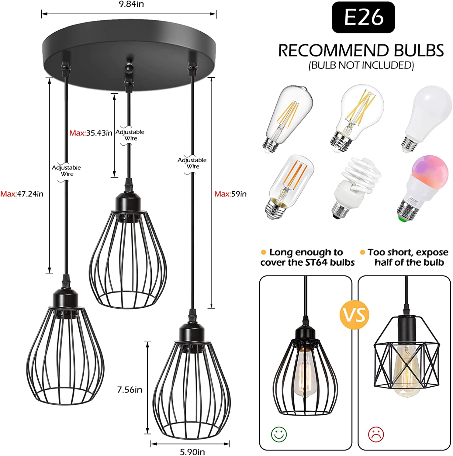 3-Light Hanging Light Fixture with Metal Cage Dining Room Bedroom ...