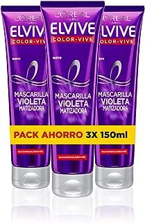 L'Oréal Paris Elvive Color Vive Mascarilla Violeta Matizadora para el Pelo con Mechas, Rubio o Gris - Paquete de 3 x 150 ml - Total: 450 ml