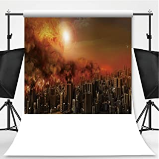 City in a Blaze Photography Backdrop,181730 for Photo Studio,Pictorial Cloth:6x10ft