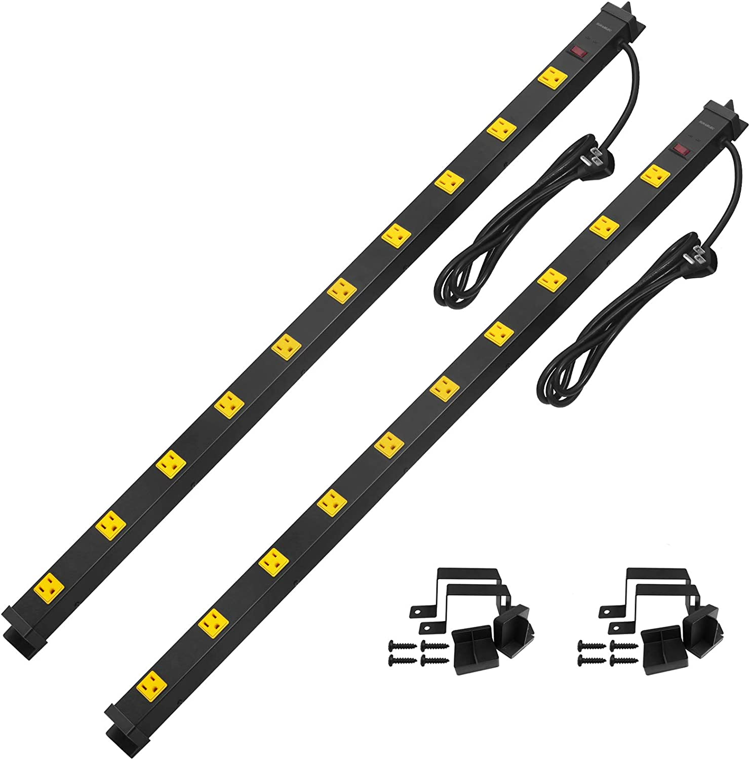 Suraielec 2-Pack 10 Outlet Long Power Strip Surge Protector, Industrial Heavy Duty Metal Shop Power Strip Flat Plug, 1000 Joules, 15 A Breaker, 6FT Cord, Wall Mountable, for Work Bench, Shop, Garage…