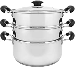 """CONCORD 10"""" Stainless Steel 3 Tier Steamer Steaming Pot Cookware 24 CM (Induction Compatible)"""