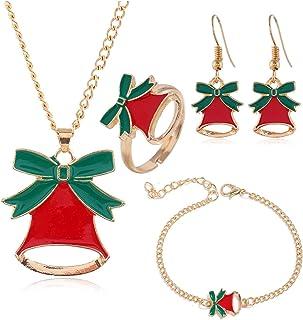 5 Pieces Christmas Jewelry Sets Santa Claus Christmas Tree Bells Elk Pendant Necklace Earrings Rings Bracelets Set Jingle ...