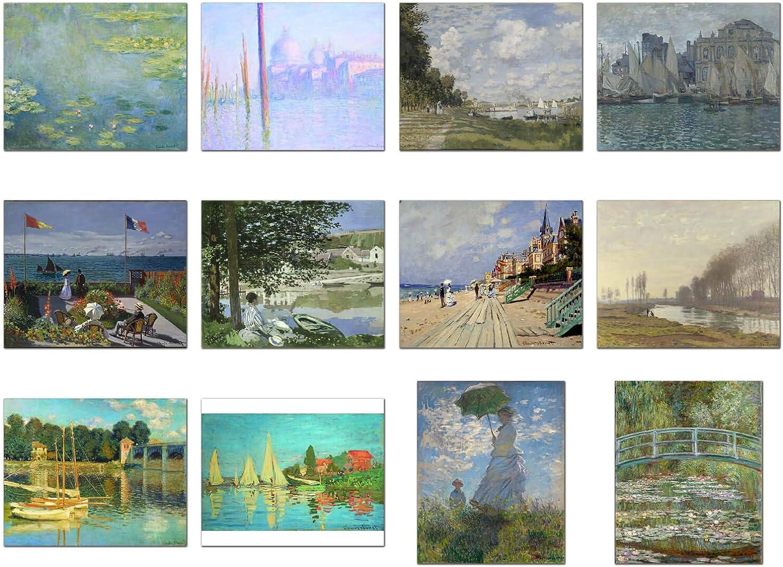 Wish Pub - Set of 12 Unframed Fine Art Prints, Claude Monet, 12x16 inch