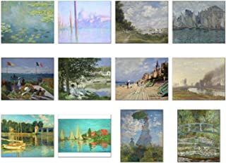 Wish Pub - Set of 12 Unframed Fine Art Prints of Claude Monet Paintings, Including Waterlilies, 8x10 Inch
