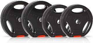 Ultrasport Discos de pesas, juego de 4 pesas, 2 de 2.5 kg, 2 de 5 kg, agujero estándar de 30 mm, aptos para barras cortas ...
