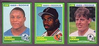 Troy Aikman, Barry Sanders, and Deion Sanders 1989 Score Football Reprint Rookie (3) Card Lot w/ Original Backs (Cowboys) (Lions) (Falcons)