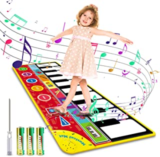 """Magicfun Kids Musical Mat, Musical Piano Mat 8 Instrument Sounds 5 Play Modes with 3 AA Batteries and 1 Screwdriver Dance and Learn Mat for Boy Girl Toys 58.26"""" x 23.62"""""""
