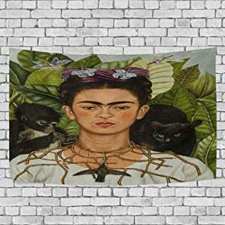 DJROW Frida Kahlo Self-Portrait with Thorn Necklace and Hummingbird Decor Tapestry Wall Hanging for Bedroom Living Room Dorm 60x40(in)