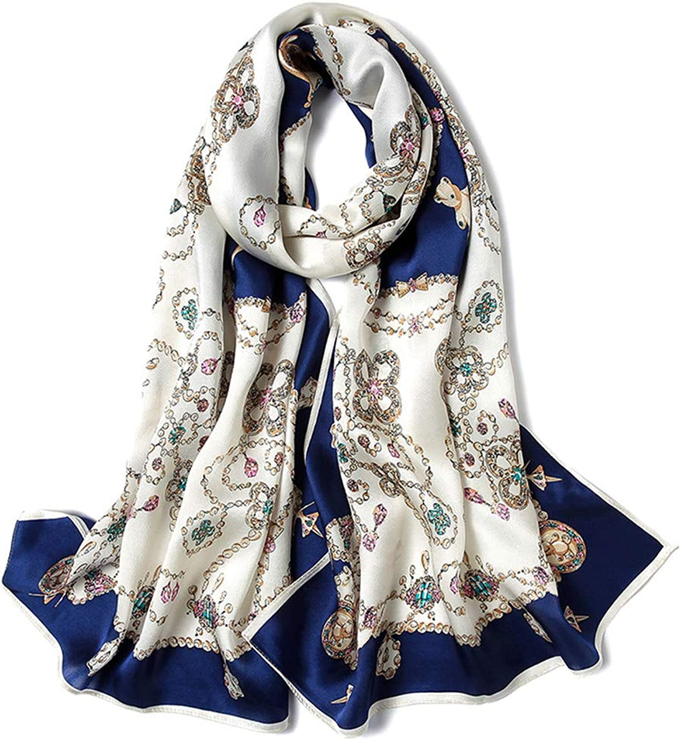Women's Soft Silk Scarves Long Chain Graphics Satin Towel Mulberry Silk Scarf Shawl (color   B)
