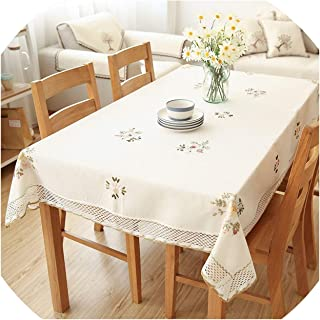 Small Oranges Europe Flowers Tablecloth White Hollow Lace Cotton Linen Dustproof Table Cloth Wedding Banquet TV Cabinet Cover Cloth,White,60cm X 60cm