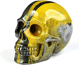 "Skullis 2.0"" Colorful Tiger Iron Eye Crystal Skull, Hand Carved Gemstone Fine Art Sculpture, Reiki Healing Stone Statue. 1069"