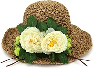 26d91ad13ec Ruiyue Summer Straw Hats, Flowers Hand Knitted Straw Hat Fashion Wide Brim  Summer Outdoor Beach