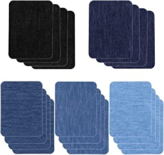 Patches for Jeans, Selizo 20 Pcs Iron on Patches Denim Jean Patches for Clothing Repair, Inside Jeans, 5 Colors (4.9