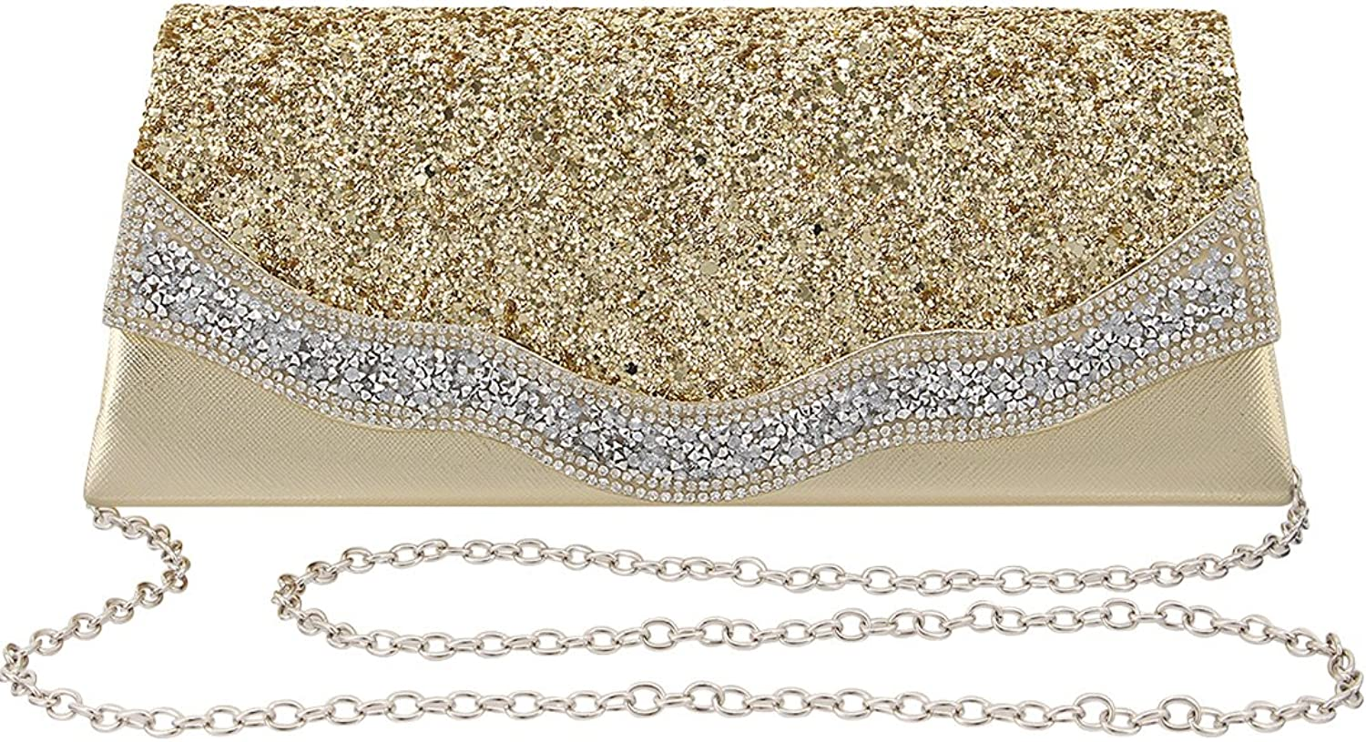 Naimo Shiny Rhinestone Sequin Clutch Bag Envelop Bag Evening Purse with Chain
