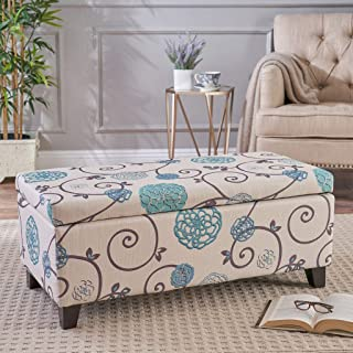 "Christopher Knight Home Living Brenway Pattern Fabric Storage Ottoman, 19.00""L x 38.50""W x 16.00""H, White and Blue Floral"