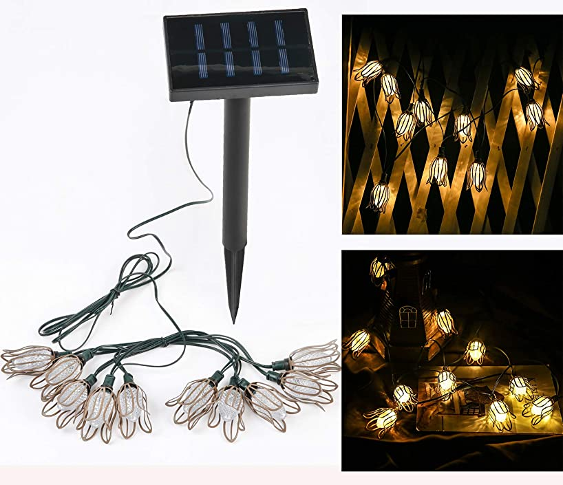 Solar Petal Shaped Bulb Strings Lights Outdoor with 10 LED Hanging Bulbs Waterproof for Curtain Patio Landscape Fairy Garden Home Wedding Holiday Christmas Tree Party(1 Pack Warm White)