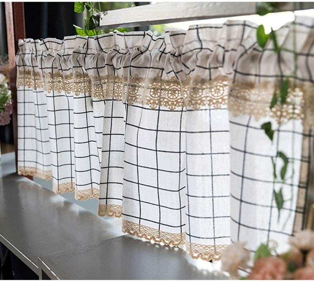 HLMBQ Tier Curtains for Kitchen Curtain Lace with 2021 model Lattice Cheap Short