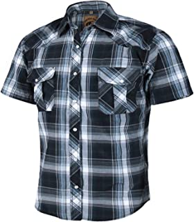 Men's Short Sleeve Casual Western Plaid Snap Buttons Shirt