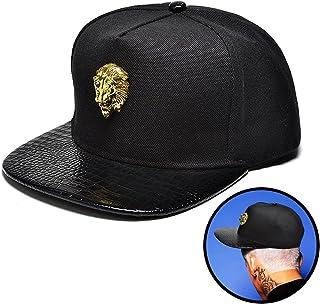 NUKI Unisex 3d Metal Stud Adjustable Flat Bill Snapback Baseball Punk Cap  Hat Black  563bf5e87fbf