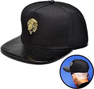 NUKIC Unisex 3D Metal Stud Adjustable Flat Bill Snapback Baseball Punk Cap Hat[Black]