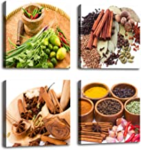 Kitchen Decorations Colorful Various Spice and Herbs Raw Material for Cooking Painting Canvas Print Wall Art - 4 Panels La...