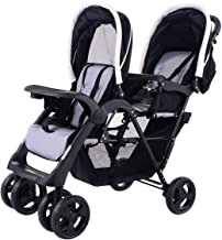 HONEY JOY Double Stroller Infant Baby Pushchair Convenience Twin Seat (Pure Black)