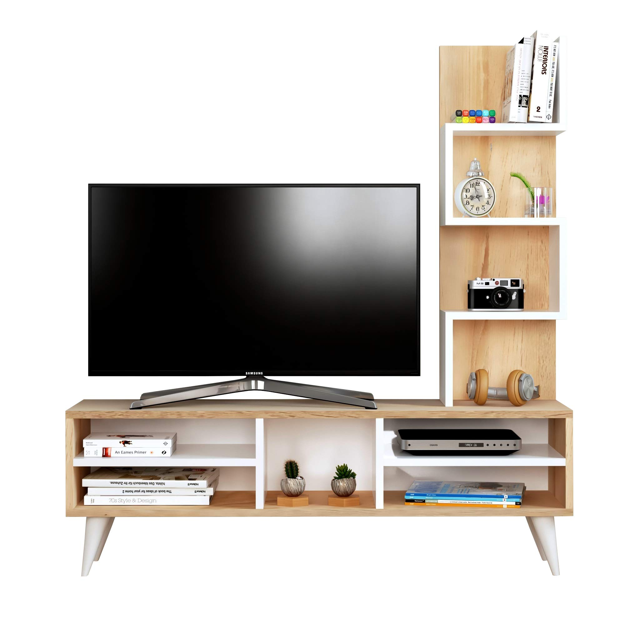 Lily Mueble salón Comedor para televisión - Blanco/Sonoma - Mueble bajo para televisor - Juego de Muebles de salón - Mesa de Televisión en diseño Elegante: Amazon.es: Hogar