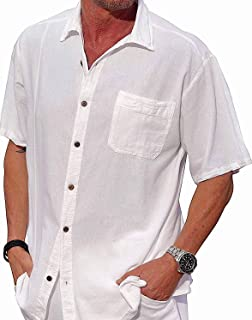 M&B USA Cotton White Short-Sleeve Casual Lightweight Beautiful Embroidered Button Down Shirt