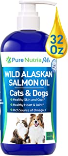 Wild Alaskan Salmon Oil for Dogs 32oz Pump Bottle: Omega 3 Fish Oil for Dogs & Cats, Reduces Shedding, Supports Skin, Coat...