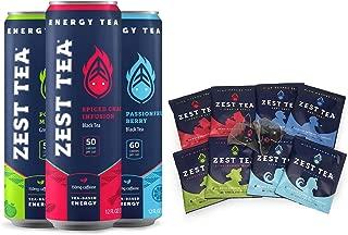 Zest Tea Energy Tea Combo Pack, High Caffeine Blend Natural & Healthy Black Coffee Substitute, Perfect for Keto, Sparkling Tea 3 Can Sampler, Hot Tea Mini Sampler 8 Sachet Bags