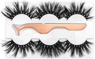 3D Mink Eyelashes 25MM Fluffy False Eyelashes Dramatic Thick Wispy Fake Eyelashes Handmade Long Soft Lashes with Tweezers Cruelty-Free Reusable Different Style 3 Pairs DYSILK