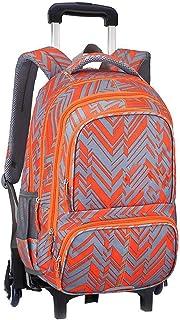 KJRJLG Girls Rolling Backpack Wheeled Backpack Trolley School Bag Travel Luggage (Color : Orange)