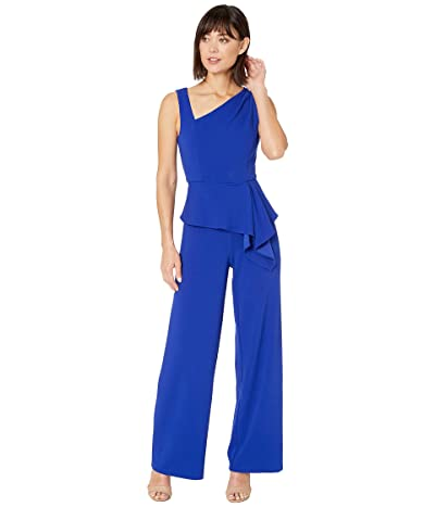 Adrianna Papell Asymmetrical Jumpsuit with Charmuese Bodice (Royal Sapphire) Women