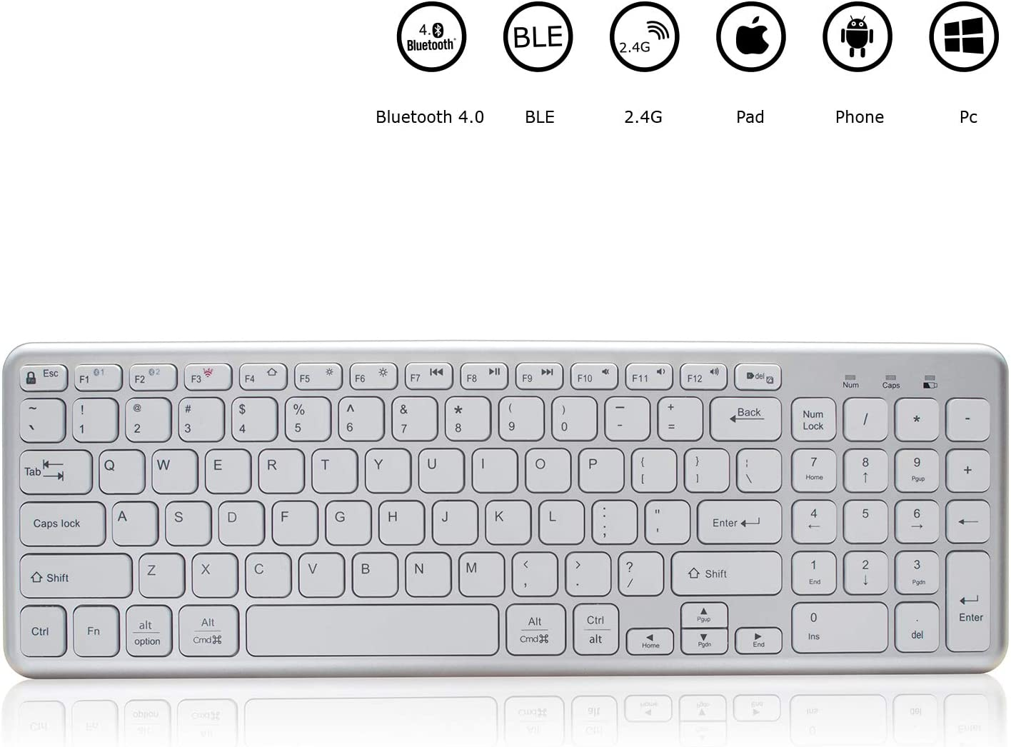 Bluetooth Keyboard for mac,Full Size switchable Multi-Device Keyboard, Wireless Keyboard for mac with Numeric keypad,Keyboard Wireless for Mac,Windows,iOS,Android and The Other moblie Device.(White)