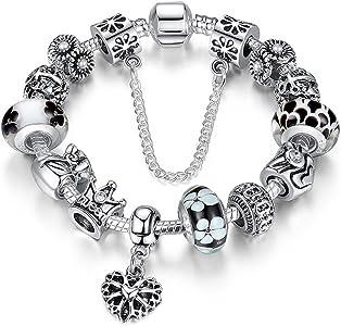 ATEA TE® Charm Pulsera Abalorio Murano Cristal Vidrio Perlas con Cadena de Seguridad Chapado Blanco Oro #JW-B110