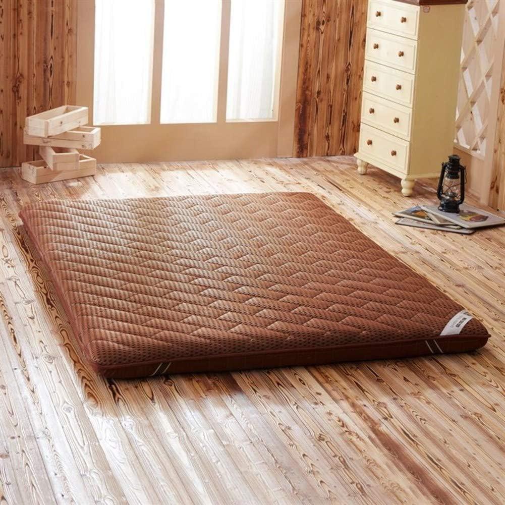 Espesar Suelo Mat, Tatami Primeros del colchón Reversible Acolchado Transpirabilidad Suaves Japonés Plegable Futón Almohadilla-Brown 120x200x6cm