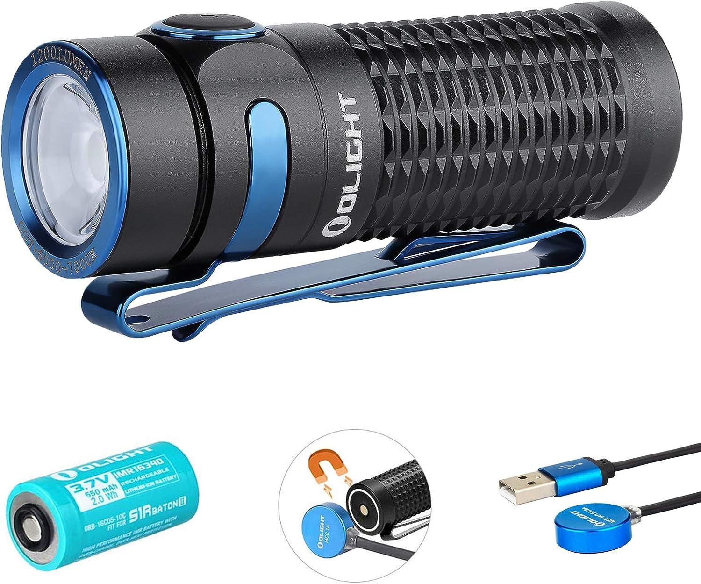 Olight Baton 3 Linterna LED Recargable Pequeño,1200 Lumens 6 Modos Impermeable IPX8,Mini Linterna LED alta Potencia profesional para Camping, Batería 16340 y estuche de batería Tidusky (Negro)