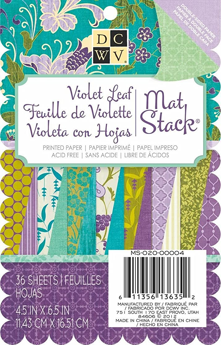 DCWV Double Sided Printed Stack, 4-1/2 by 6-1/2-inches, Violet Leaf