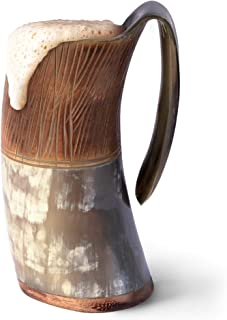 Norse Tradesman Genuine Viking Drinking Horn Mug - 100% Authentic Flame Treated Beer Horn Tankard w/Intricate Engravings |