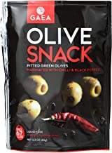 Gaea Olives - Green - Pitted - with Chili and Black Pepper - Snack Pack - 2.3 oz - case of 8 - Dairy Free - Yeast Free - W...