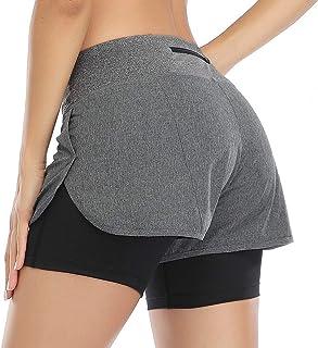 VUTRU Sports Shorts Women 2 in 1 Running Shorts High Waist Fitness Shorts with Back Zipper Pocket