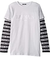Balmain Kids - Long Sleeve Institutional Logo Tee w/ Striped Sleeve (Big Kids)