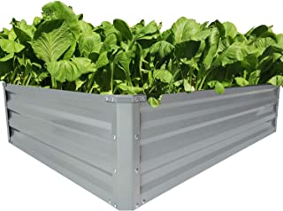 zizin Galvanized Raised Garden Bed Elevated Metal Planter Boxes Outdoor Bed Kit for Vegetables Herb Planting, Bottomless, Steel Patio, 4 x 3 x 1ft