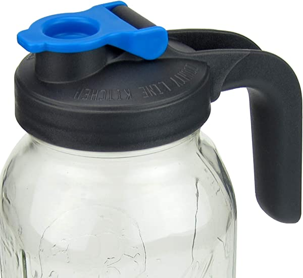 Pour And Store Wide Mouth Mason Jar Flip Cap Lid With Handle By County Line Kitchen With Airtight Leak Proof Seal And Innovative Flip Cap WIDE MOUTH HANDLE Blue 1 Pack
