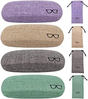 4 Pack Hard Shell Eyeglasses Glasses Case Linen Glasses Protective Case for Eyeglasses Sunglasses, Chaom, 6.5 x 2.6 x 1.6 inches